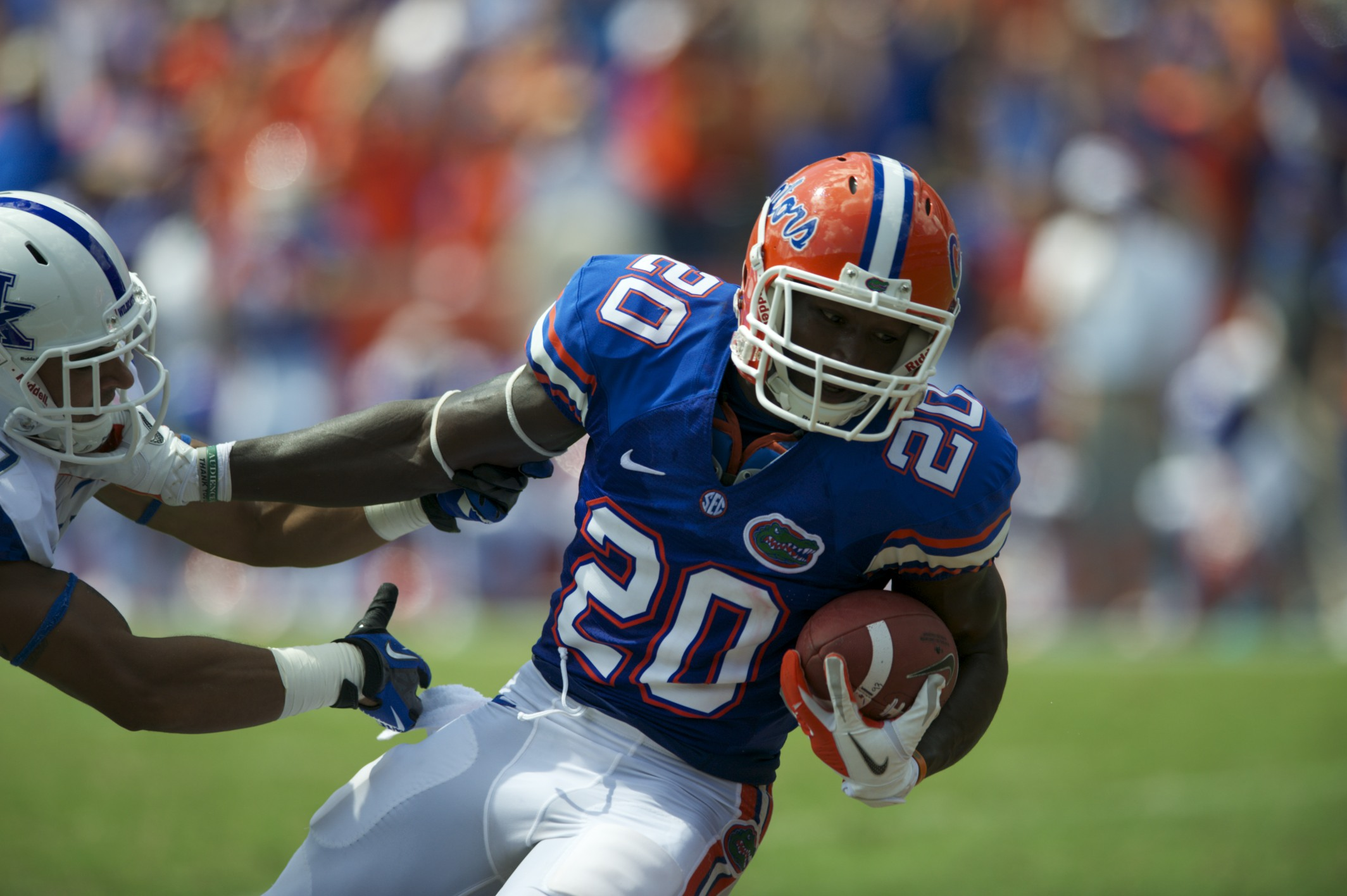 Tight end Marcus Maye gets tackled after getting positive yards for the Gators in the first half.