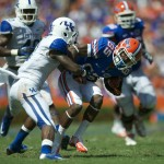 Wide receiver Frankie Hammond gets a first down for the Florida Gators during the game against the Kentucky Wildcats Saturday afternoon.