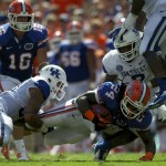 Matt Jones gets tackled in the fourth quarter but only after getting a first down for the Florida Gators.