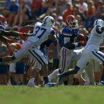Running back Chris Johnson gains yards for the Florida Gators in the second half of Saturday's game.
