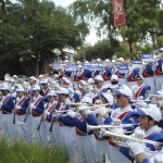The Gator Marching Band performs during Gator Walk prior to the game against LSU Saturday afternoon.