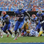 Florida running back Mike Gillislee puts the Gators on the board with the first touchdown in the second quarter on Saturday afternoon.