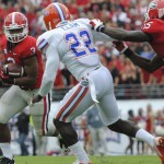 Matt Elam gets a tackle in the first quarter for the Florida Gators.