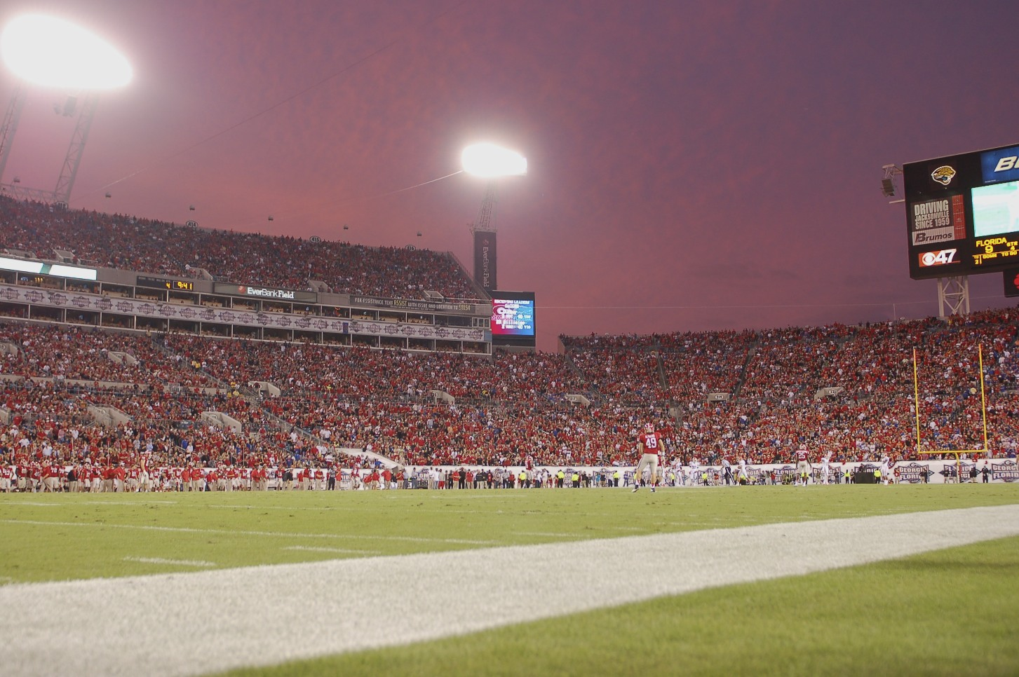 The EverBank Stadium in Jacksonville, Fla. as the sun sets on the Florida vs. Georgia game, Saturday, Oct. 27, 2012.