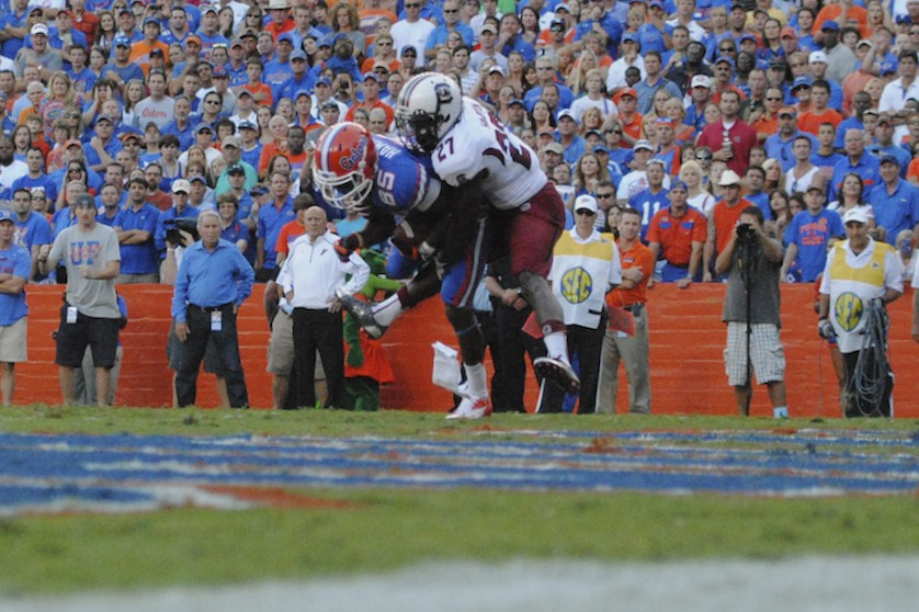 Florida Gators Frankie Hammond gets a touchdown for the Florida Gators in the third quarter of Saturday's game.