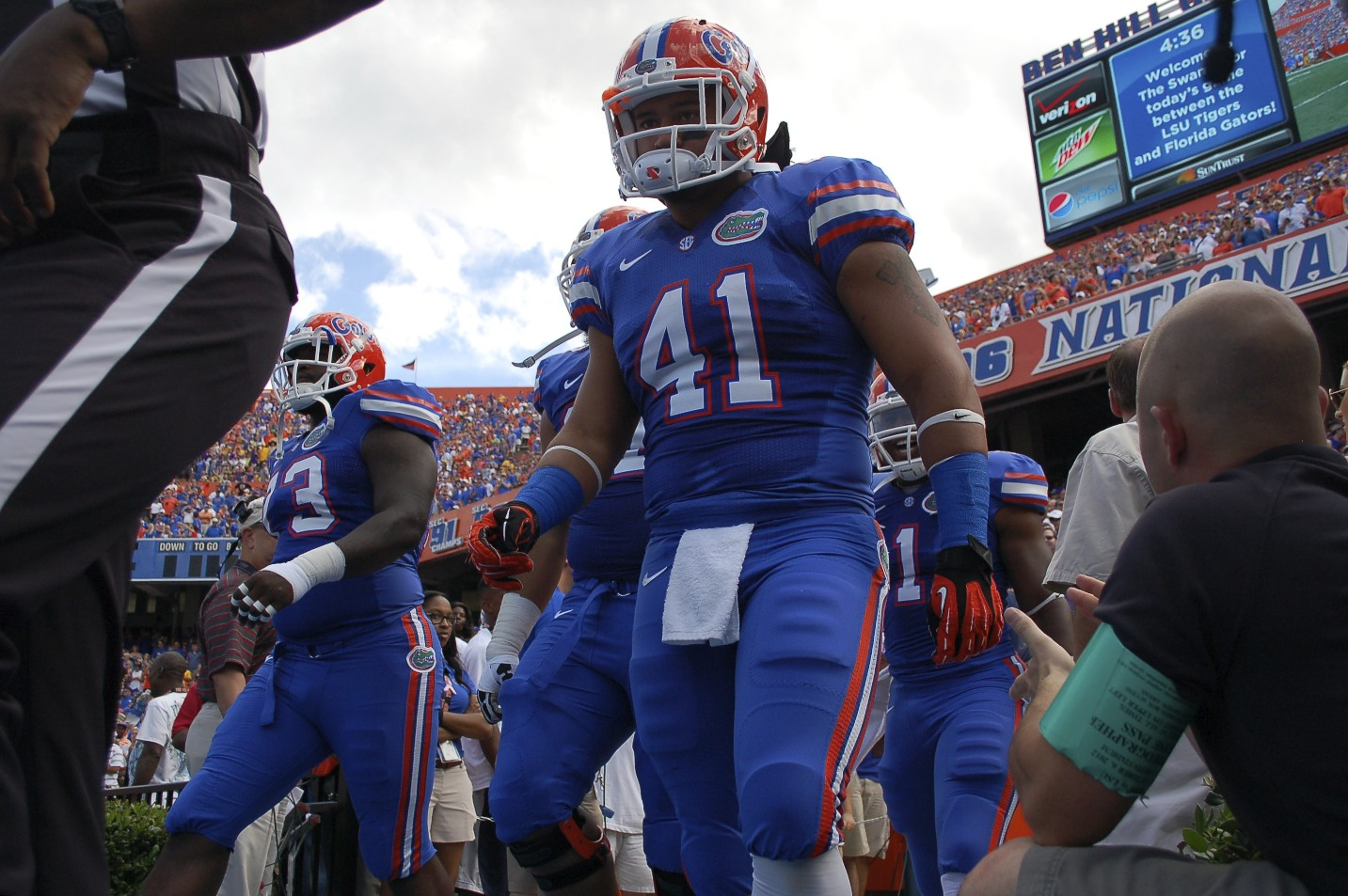 Florida's Hunter Joyer walking out for Saturday's game against the LSU Tigers.