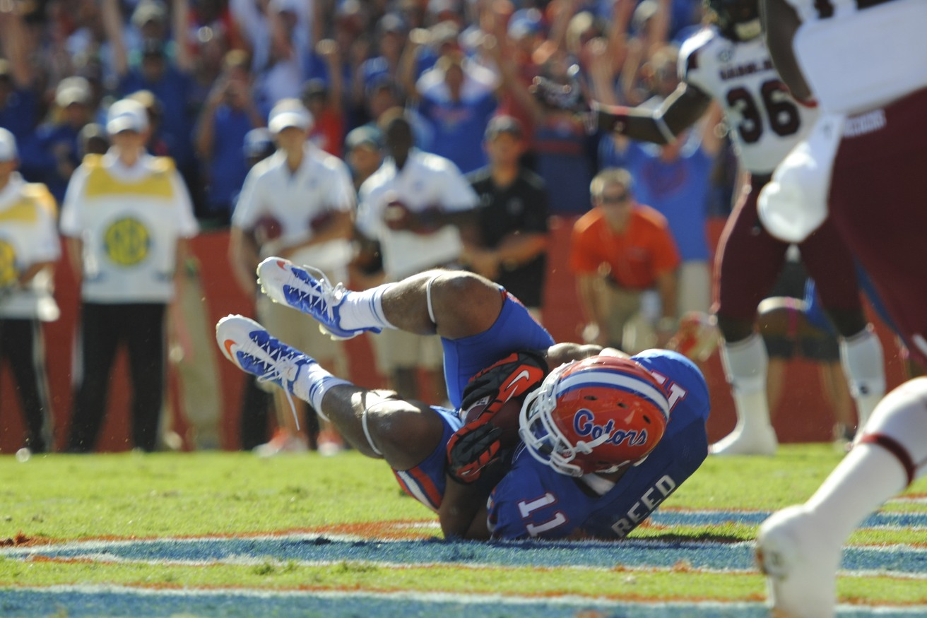 Tight end Jordan Reed gets a touchdown for the Florida Gators in the first half of Saturday's game against the South Carolina Gamecocks.