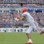 Florida quarterback Jeff Driskel's pass, intended for Trey Burton and a possible touchdown, is overthrown and results in a third down for the Gators.