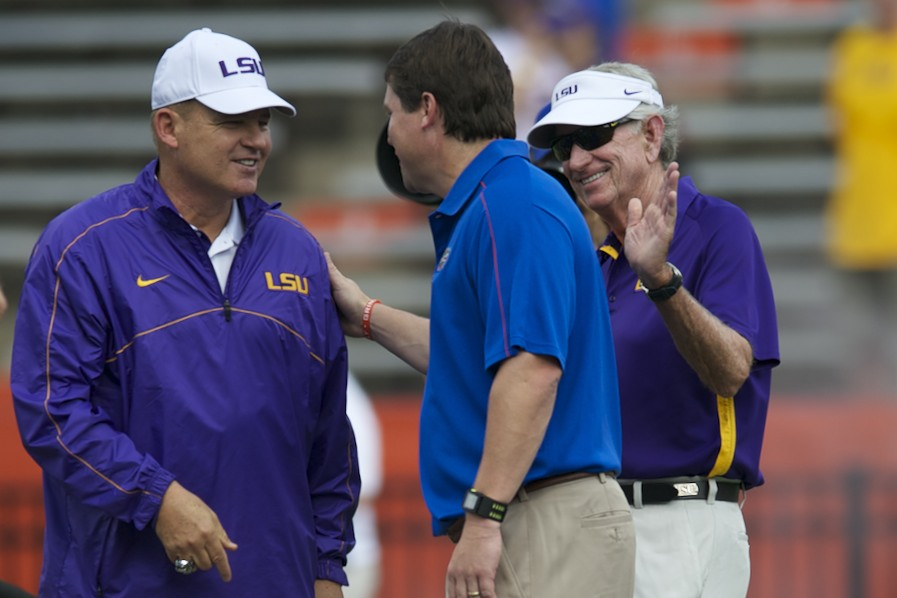 LSU headcoach Les Miles and Florida headcoach Will Muschamp shake hands before the game Saturday afternoon.
