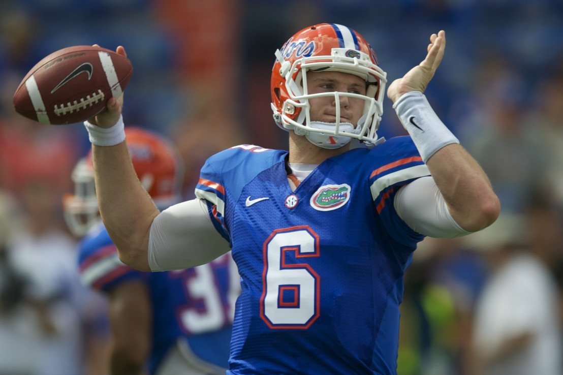 Gator quarterback Jeff Driskel warms up before the game against LSU in Ben Hill Griffin Stadium Saturday afternoon.
