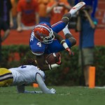 Florida's Andre Debose gets tackled by LSU in the first half Saturday afternoon.