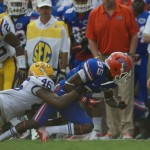 Florida wide receiver Frankie Hammond fumbles the ball and turns it over to LSU in the first half of Saturday's game.