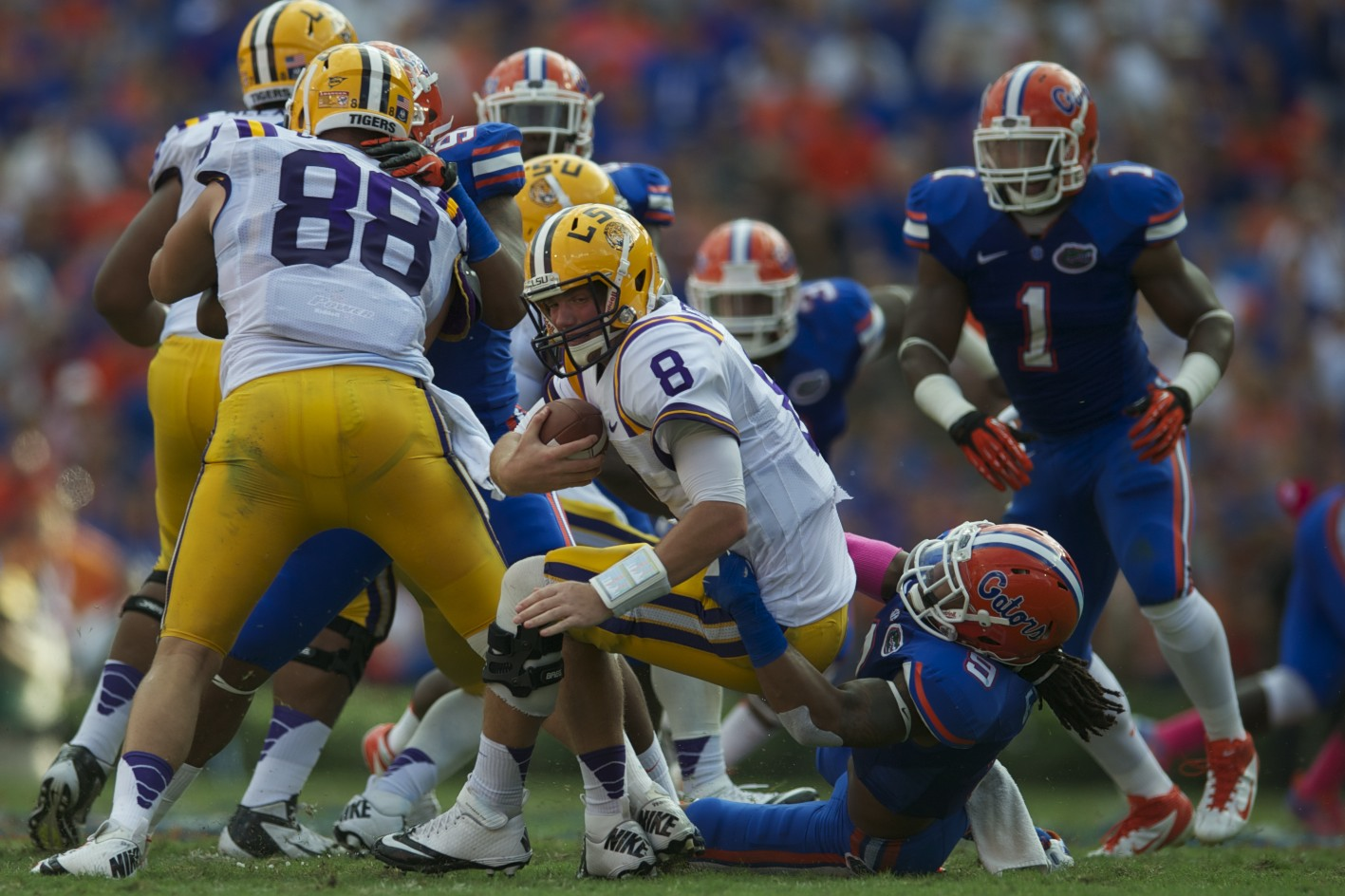 Florida's Josh Evans sacks LSu quarterback Zach Mettenberger in the second half of Saturday's game.