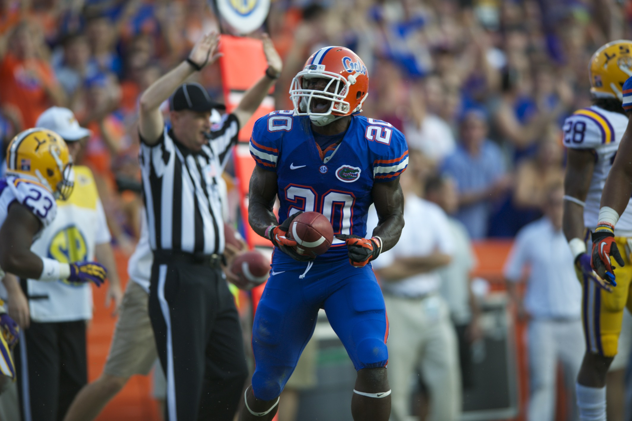 Marcus Maye celebrates after a Florida first down.