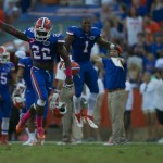 Matt Elam celebrates after he forced a fumble against LSU resulting in a turn over in the second half.