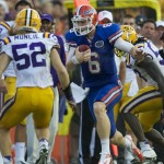 Quartback Jeff Driskel is forced out of bounds after a first down in the second half of Saturday's game.