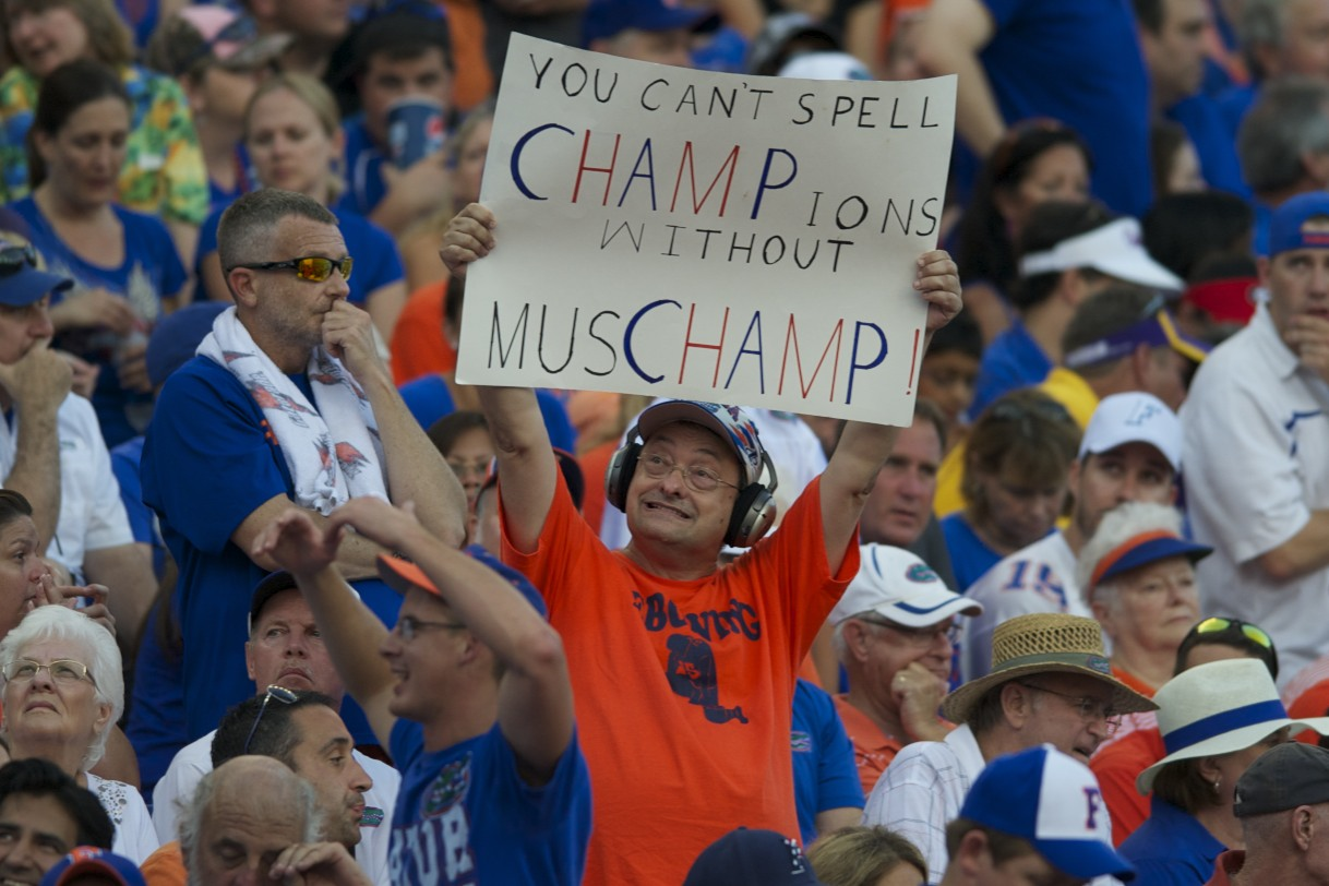 Many Florida fans made signs to support their Gators and head coach Will Mushcamp for Saturday's game.