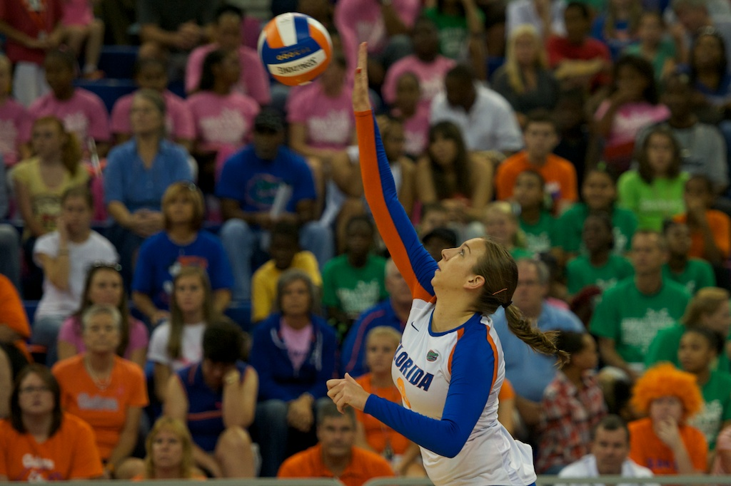Freshman Ziva Recek has a back row attack for the Gators in the first set of the match against the Kentucky Wildcats Sunday afternoon.