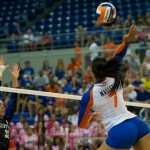 Freshman Gabby Mallette gets a kill for the Florida Gators in the first set on Sunday.