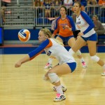 Defensive specialist Madison Monserez gets a dig for the Gators in Sunday's match.