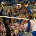Freshman Ziva Recek gets a kill for the Florida Gators Sunday afternoon against the Kentucky Wildcats.