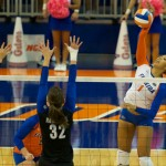 Freshman Berkley Whaley goes up for a kill in the second set against the Kentucky Wildcats on Sunday.