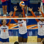 Chloe Mann, 16, gets a block for the Florida Gators in the second set.
