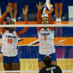 Outside hitter Gabby Mallette gets a block for the Gators during Sunday's match against the Kentucky Wildcats.
