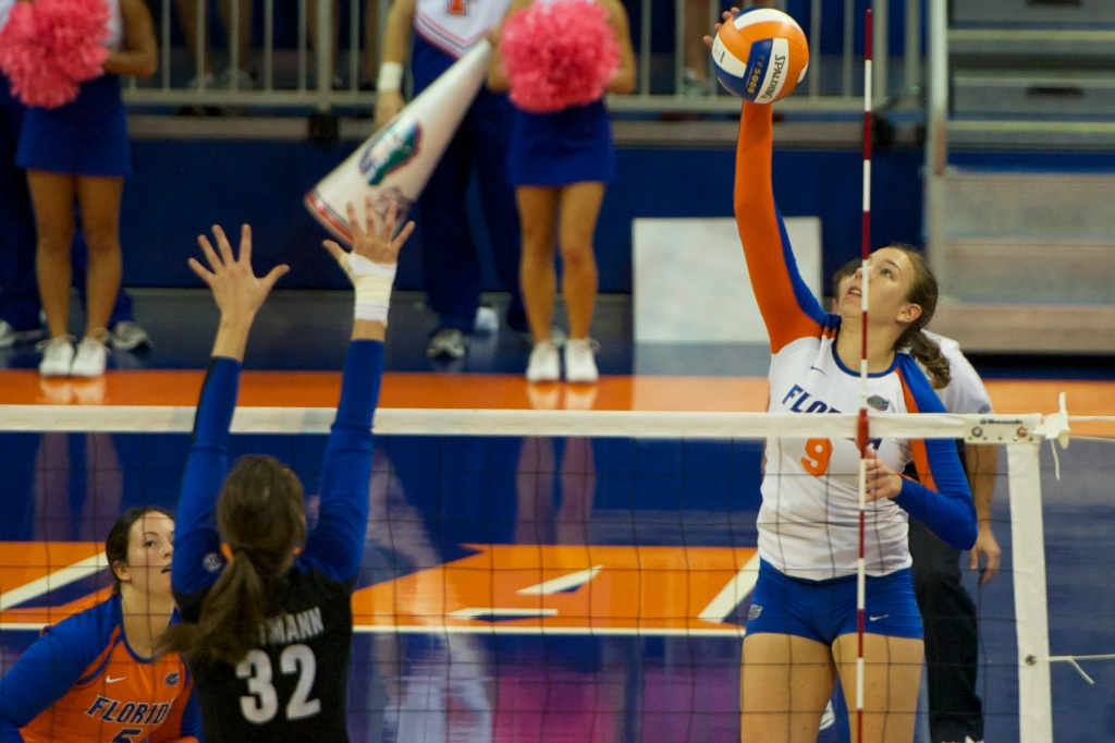 Outside hitter Ziva Recek gets a kill for the Gators in the second set of Sunday's match.