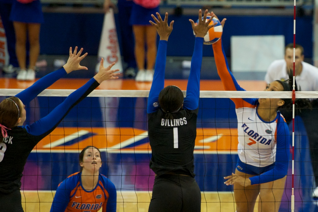 Freshman Gabby Mallette gets blocked in the second set against Kentucky on Sunday.