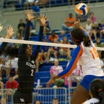 Chloe Mann gets a kill for the Gators in the third set of Sunday's match against the Kentucky Wildcats.