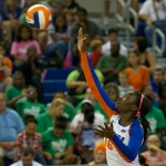 Simone Antwi serves for the Florida Gators in the third set against the Kentucky Wildcats on Sunday.