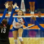 Outside hitter Ziva Recek gets a kill for the Gators in the fourth set of Sunday's match.