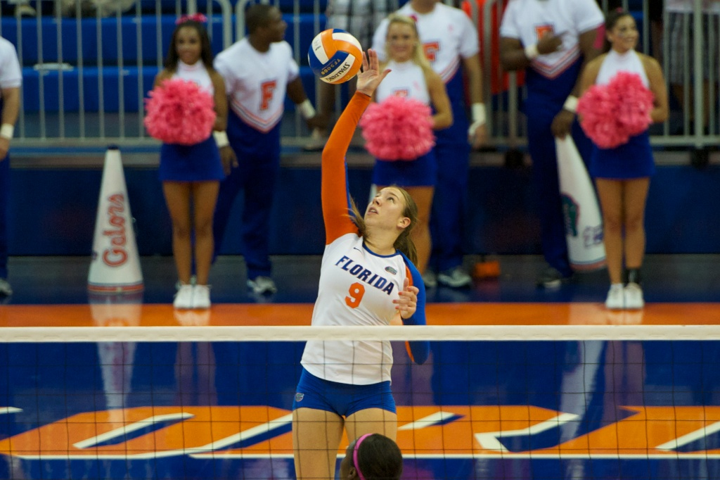 Ziva Recek gets a kill from the back row for the Gators in the fourth set of Sunday's match against Kentucky.
