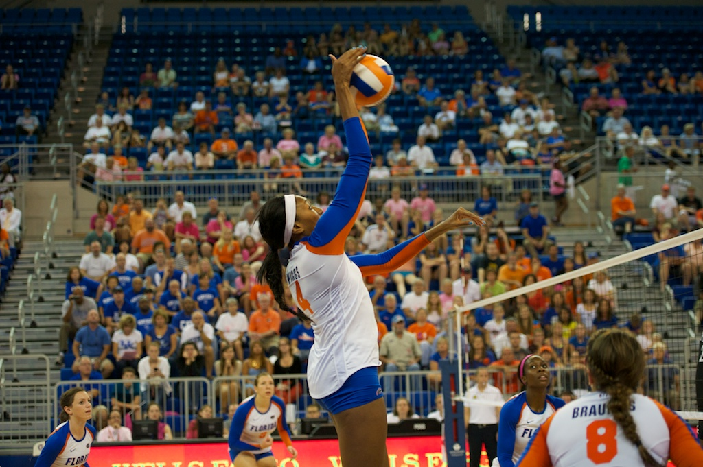 Senior Tangerine Wiggs gets a kill for the Gators in the fifth set of Sunday's match.