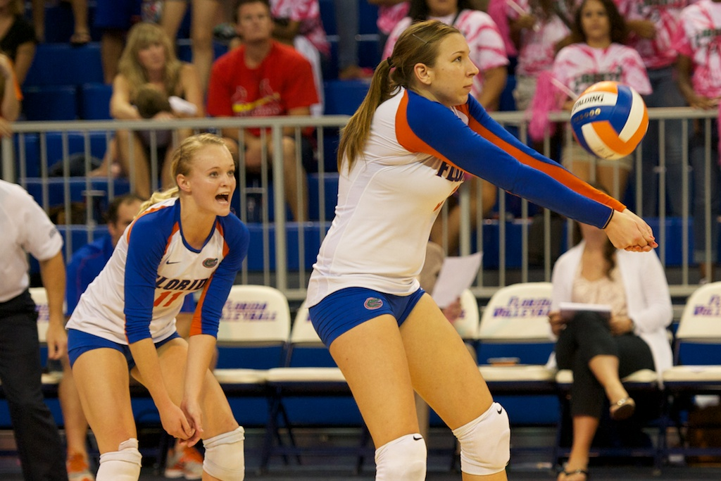 Freshman Ziva Recek gets a dig for the Gators in the fifth set on Sunday.