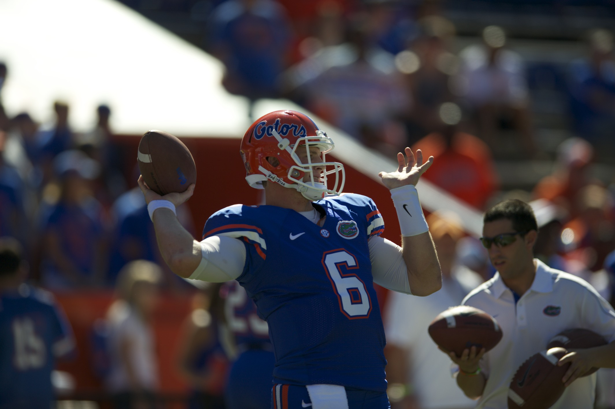 Quarterback Jeff Driskel warms up before the game against South Carolina Saturday.