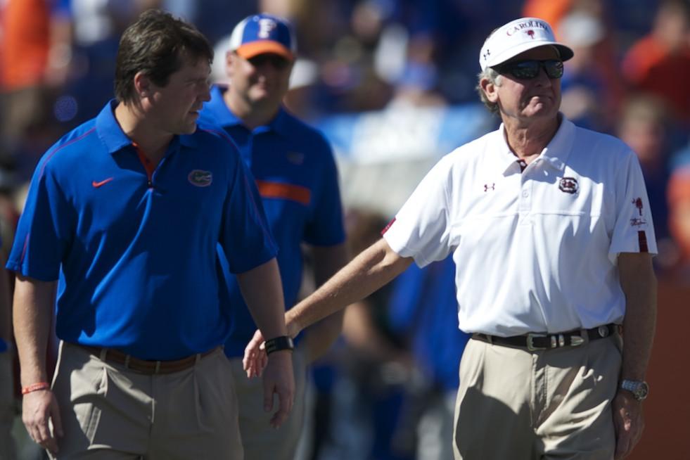 Florida head coach Will Muschamp and South Carolina head coach Steve Spurrier