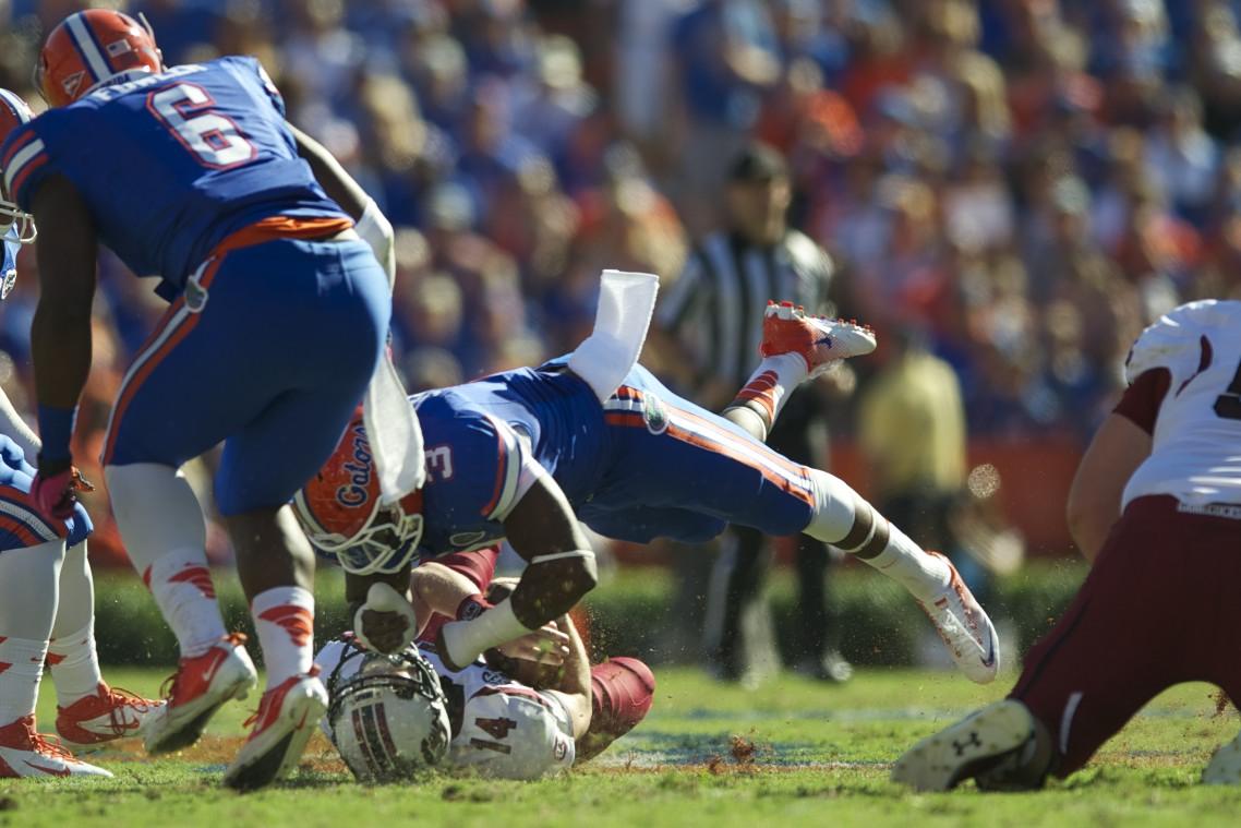 Linebacker Jelani Jenkins sacks South Carolina's quarterback in the first half of Saturday's game.