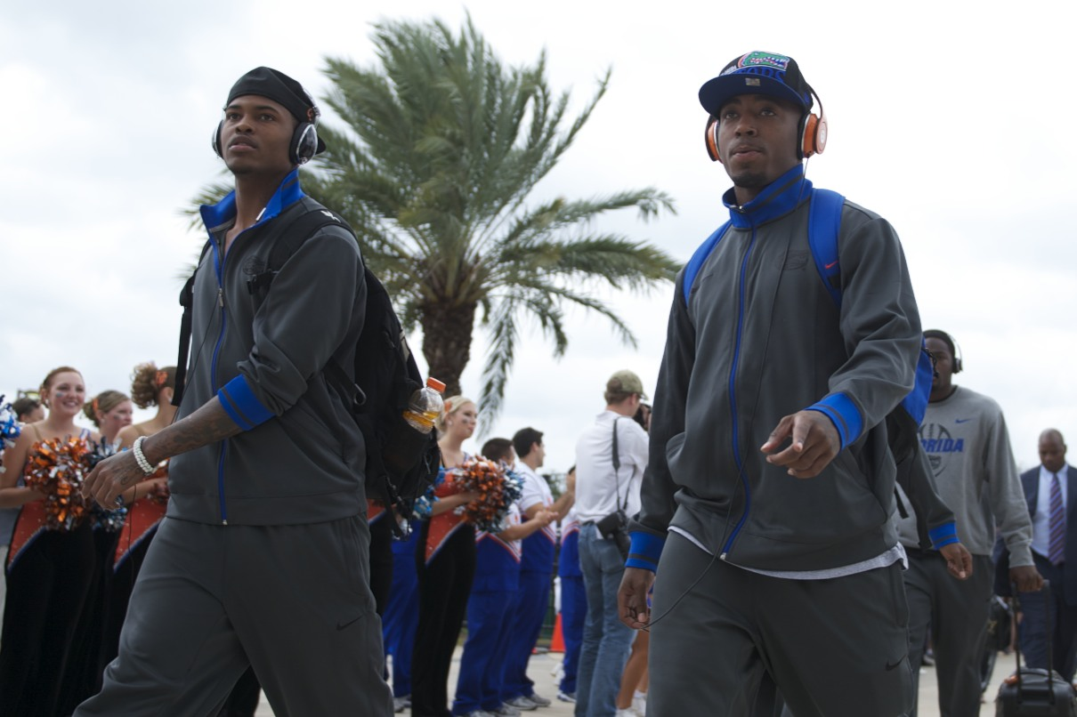 Florida players are greeted by fans in Gator Walk prior to the game Saturday afternoon.