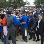 Florida players greet fans and family during Gator Walk before the game against the Georgia Bulldogs Saturday afternoon.