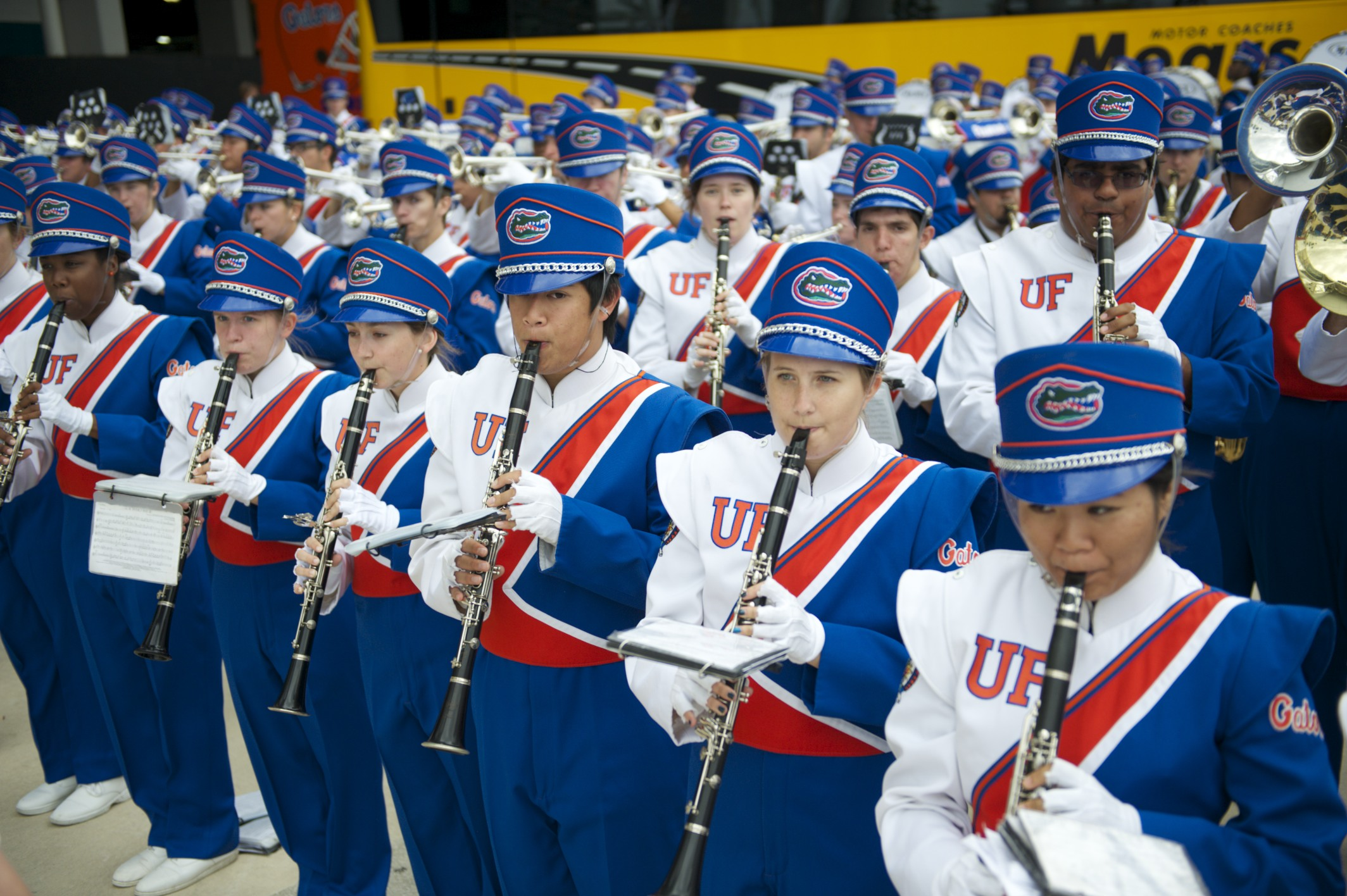 The Pride of the Sunshine, Florida's marching band, performs at Gator Walk prior to Saturday's game against the Georgia bulldogs.