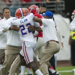 There was immediatley tension between the Florida Gators and Georgia Bulldogs, demonstrated by the fact Florida coaches had to restrain Matt Elam in order to prevent a penalty on the Florida Gators even before the game had begun on Saturday afternoon.