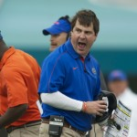 Florida head coach Will Mushcamp upset after a call in the first half of Saturday's game against the Georgia Bulldogs.