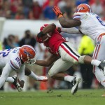 Despite the loss, Florida's defense performed well during Saturday's game, as they stop Gerogia's Todd Gurley (3).