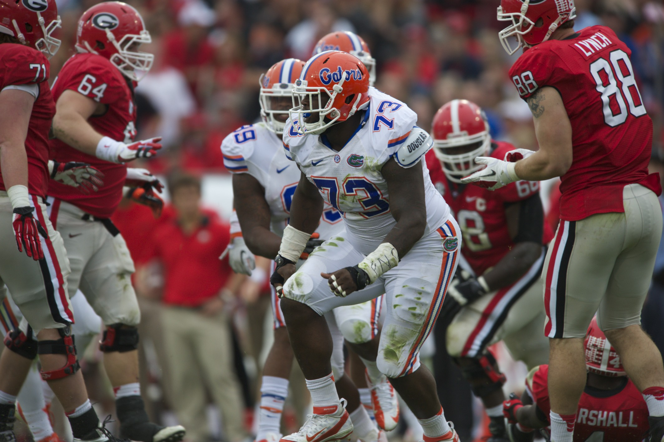 Defensive lineman Sharrif Floyd makes a crucial tackle behind the line of scrimmage for the Florida Gators in Saturday's game against the Georgia Bulldogs.