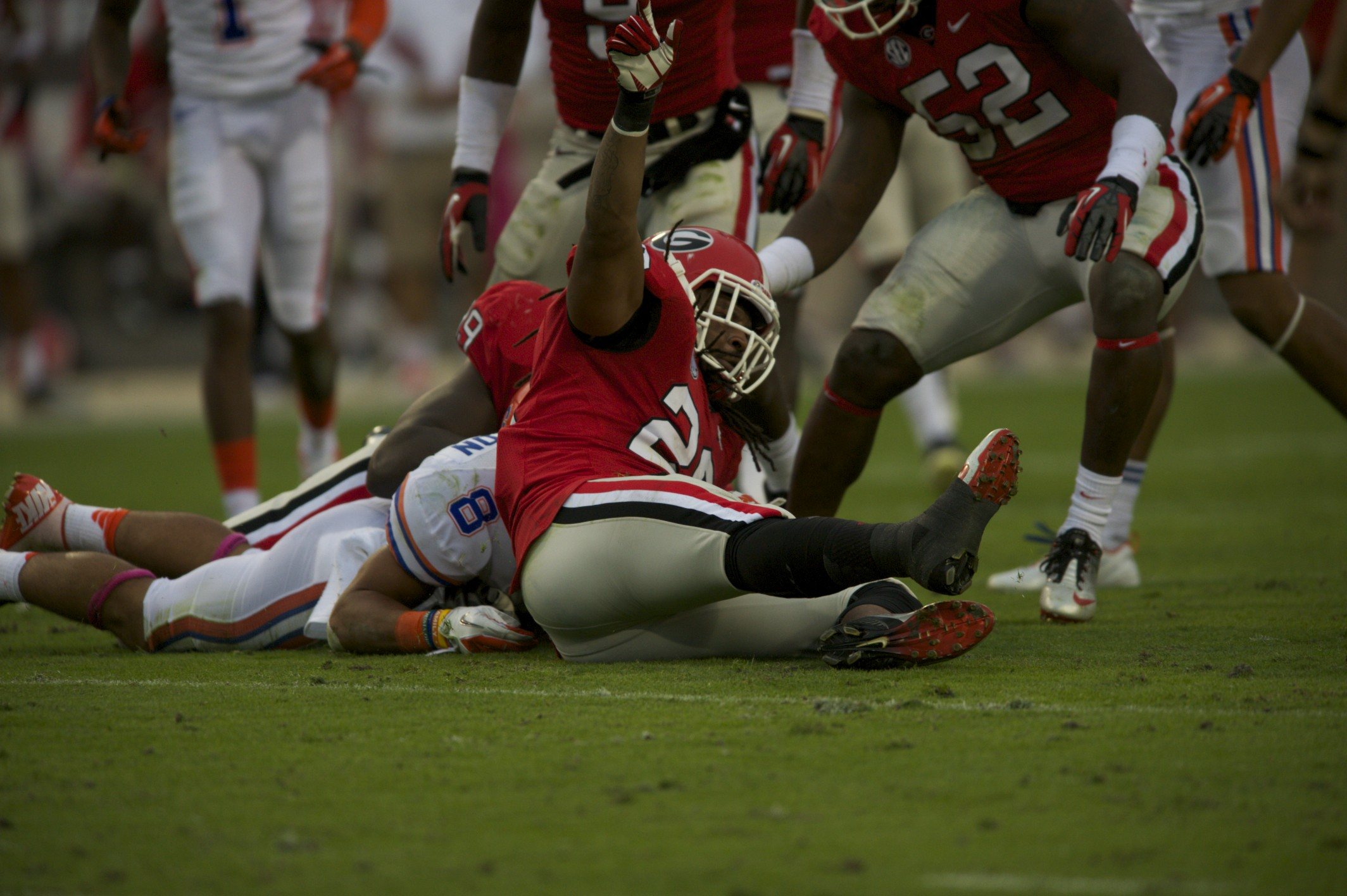 Trey Burton's fumble was one of six in Saturday's game against the Georgia Bulldogs.