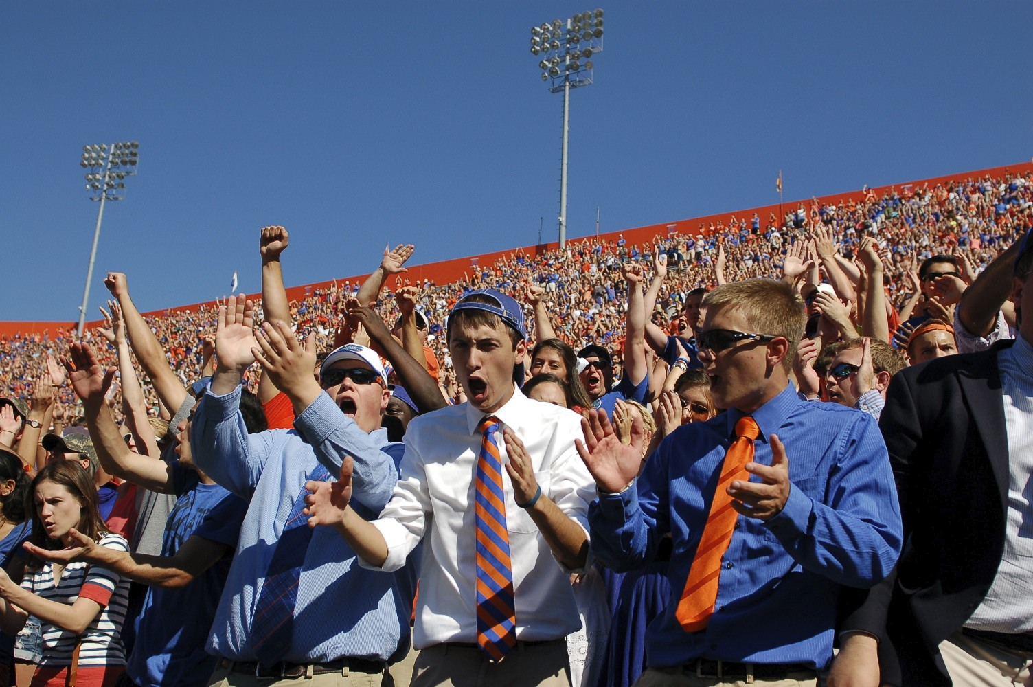 Florida fans cheer as Josh Evans makes an interception during a Missouri third down in range for a possible touchdown. Evans interception sealed the victory for the Gators Saturday afternoon.