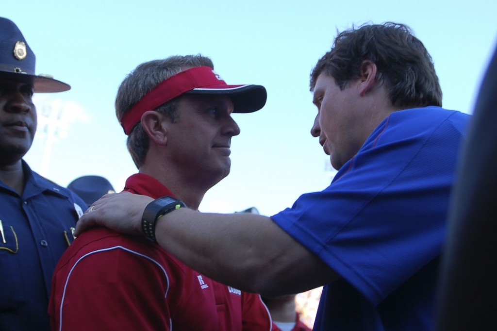 Louisiana head coach Mark Hudspeth and Florida head coach Will Muschamp