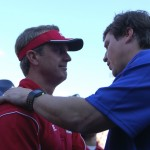 Louisiana head coach Mark Hudspeth and Florida head coach Will Muschamp